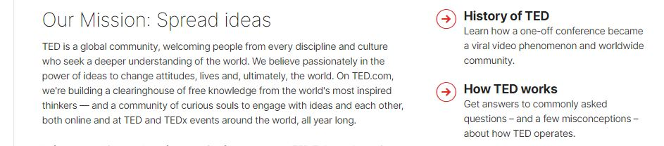 How TED expresses its company mission and vision.